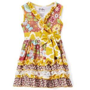 Gold Quatrefoil & brown floral tie-waist dress